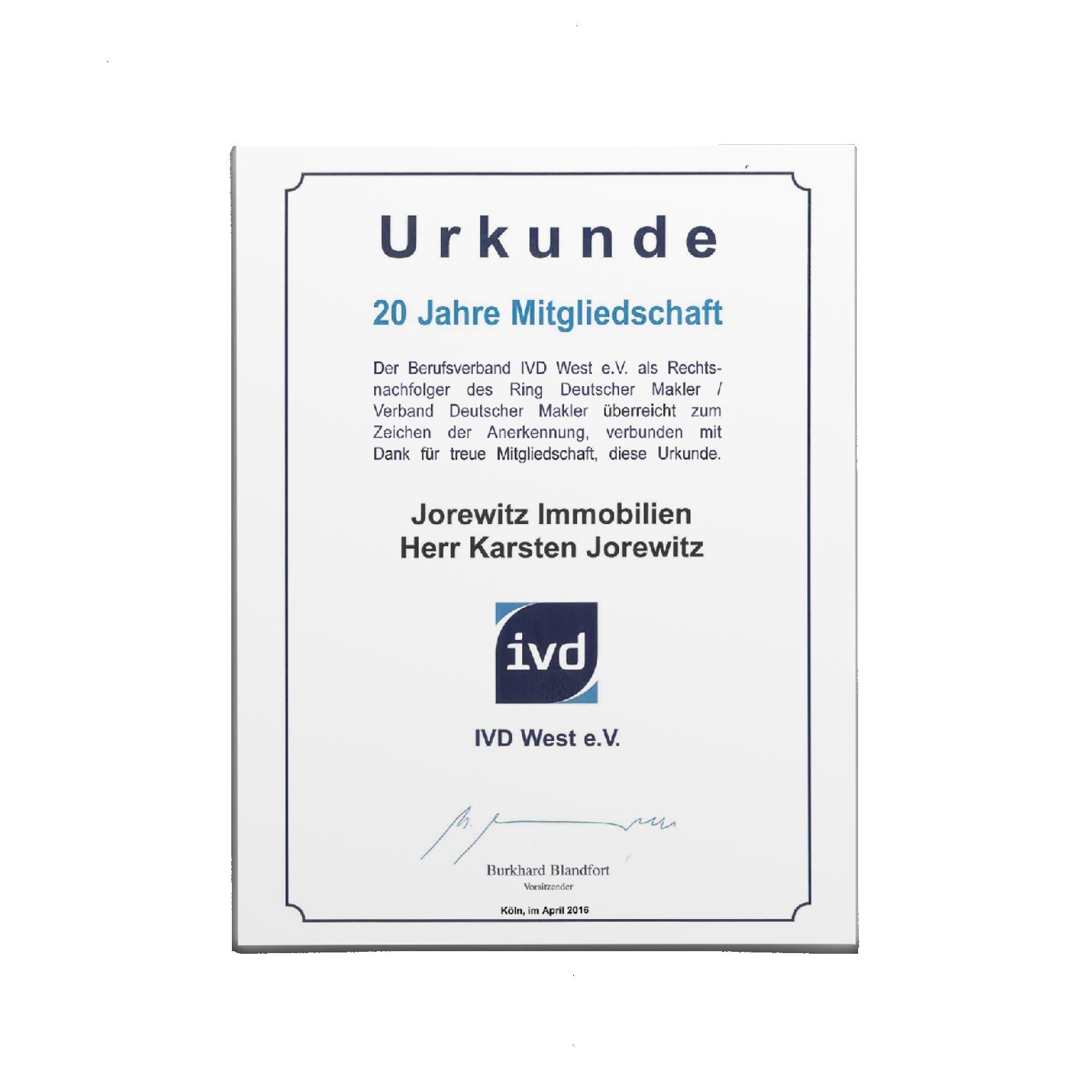 Urkunde_20 Jahre Mitgliedschaft IVD