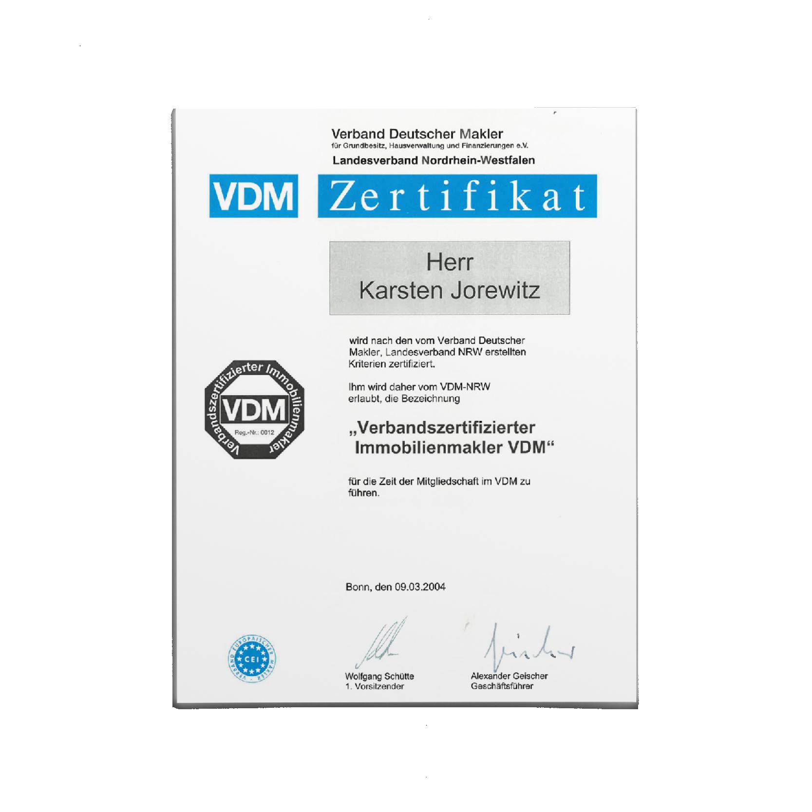 Zertifikat Verbandsmakler